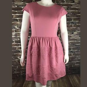 Lauren Conrad Dress Pink Textured Stretch Sz 16